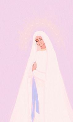 Holy Mary on pink background