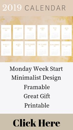 2019 French Printable Calendar. This printable calendar has a Monday/Lundi start and the months are written in a subtle floral gold print.   Perfect for printing to use in your office, put in a frame or to give as a gift.   #French2019calendar #printable calendar #framable calendars #goldfrontcalendar #minimalistcalendar #giftidea #francophilegiftideas