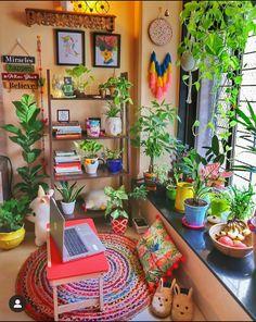 Indian Room Decor, Bohemian Room Decor, Terrace Decor, Small Balcony Decor, India Home Decor, Ethnic Home Decor, House Plants Decor, Plant Decor, Home Decor Furniture