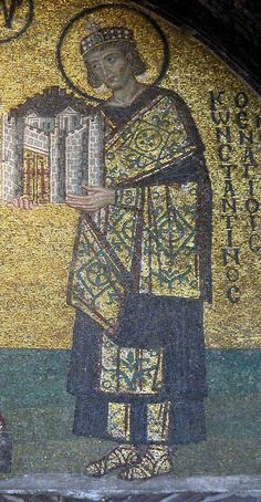The emperor Constantine in precious silk and golden brocade robes wearing a crown adorned with pearls and an emerald is offering the city to the Mother of God; the halo or nimb on his head means that he is a saint - In the southern vestibule of Hagia Sophia