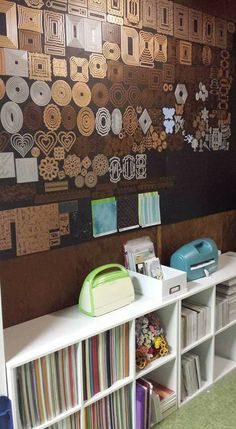 This would drive me crazy, but I appreciate the dedication of a fellow die cut nut. Craft Room Organisation, Scrapbook Room Organization, Scrapbook Storage, Craft Room Storage, Craft Rooms, Storage Ideas, Wall Storage, Space Crafts, Home Crafts