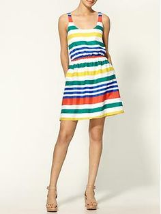 Striped Mini Dress - hmmm, i like the colors but not sure about the horizontal stripes...