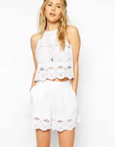 Image 1 of ASOS White Broderie Shell Top