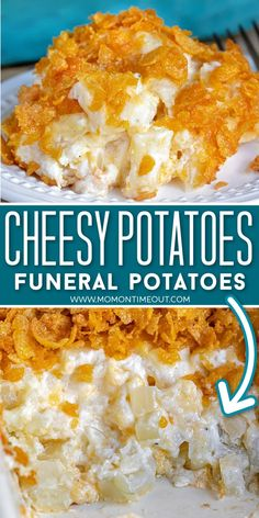 Cheesy Potatoes With Hashbrowns, Cheesy Hashbrown Casserole, Easy Cheesy Potatoes, Cornflake Potato Casserole, Chessy Potatoes, Funeral Potatoes Recipe, Meat And Potatoes Recipes, Potato Recipes, Potato Side Dishes