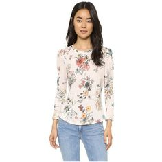 Rebecca Taylor Long Sleeve Meadow Flower Tee ($225) ❤ liked on Polyvore featuring tops, t-shirts, pink combo, floral tee, pink long sleeve t shirt, long sleeve jersey tee, linen tee and jersey tee