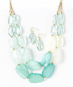 Look what I found on #zulily! Gold & Mint Beaded Necklace & Drop Earrings by Mystique #zulilyfinds