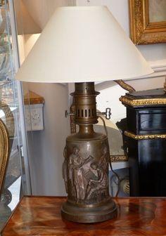 Barbedienne, Lampe à l Antique En Bronze Patiné, époque XIX ème