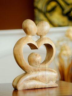 Fairtrade Natural Wooden Statue - Heart - 20 Cm | Fair Trade Gift Store | Siiren