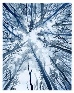 Blue Forest Watercolor Art Print Wall Decor by PriscillaGeorgeArt