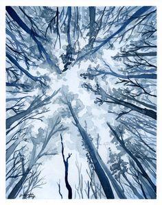 """Aquarell Kunstdruck Blue Wald Wall Decor 5 """"x 7"""", 8 """"x 10"""" und 11 """"x 14"""""""