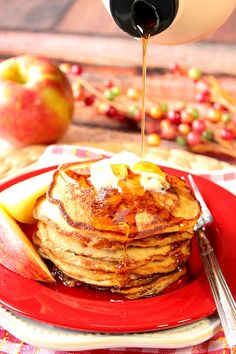 The flavors of fall apples come alive in these pancakes making them delicious for breakfast, or for a treat on those breakfast-for-dinner nights. - Kudos Kitchen by Renee