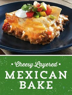 Lasagna with a Mexican twist! This Cheesy Layered Mexican Bake is made with cheesy layer after delicious layer of sausage, beef and beans - and it bakes in just 35 minutes! Perfect for a busy weeknight!