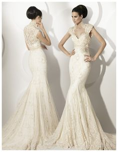 Buy 2014 A Line Delicate Trumpet/Mermaid V-neck Court Train Lace Wedding Dress Online Cheap Prices