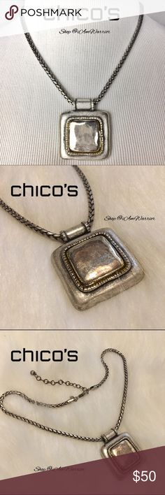 Chicos distressed square pendant rope necklace Pretty adjustable silver (I believe pewter) rope necklace with heavier distressed silver square pendant. Freshly cleaned/tarnish free. All distressing is natural and as purchased. Please read updated 'about me' listing prior to inquiries. Chico's Jewelry Necklaces