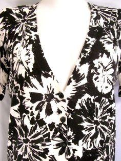 M 8/10~Ann Taylor Loft Black White Floral Cardigan Sweater Top~Work~V-neck~Rockabilly~Retro