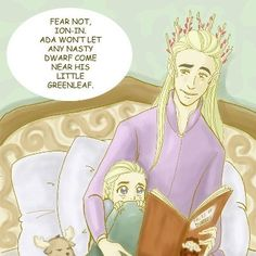 To think Legolas later becomes friends with a dwarf....this is so cute! Little Legolas with his daddy!