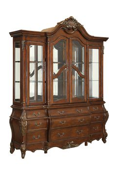 Vicente Traditional Cherry Glass Solid Wood Veneer Hutch and Buffet