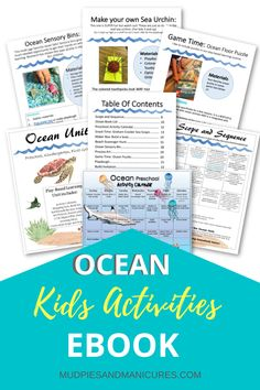 Kids activity ebook with an ocean theme. Get 30 days of play based learning ideas including: themed games, snacks, sensory play, book lists, math ideas and more! #kidsactivitiesocean #oceankidsactivities #summerfun Ocean Activities, Educational Activities For Kids, Printable Activities For Kids, Summer Crafts For Kids, Summer Activities For Kids, Summer Fun, Play Based Learning, Learning Through Play, Kids Learning