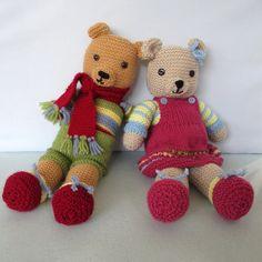 Vintage Style Teddy Bears  Toffee Ted & Tessa  pdf knitting