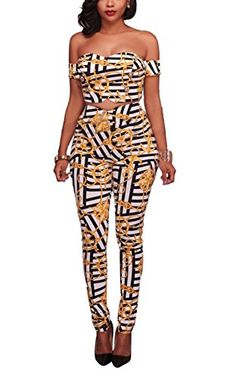 72c942dab225af Bluewolfsea Womens Two Piece Jumpsuit Cute Off Shoulder Crop Tops High  Waisted Pants Set Large Black        AMAZON BEST BUY     SexyJumpsuit