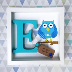 5cae01cdee79 Items similar to Personalised baby gift- Owl name frame- a colourful hand  painted wooden letter frame with a paper cut owl in blue on Etsy