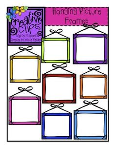 {FREE CLIPAR!} This set has 8 crisp, colorful images and 1 black and white version. These frames have a white center and would be great for classroom labels! Enjoy and thank you for supporting my clipart doodling :)