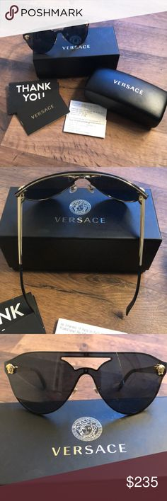49ec15062 Versace Sunnies Black and gold brand new never worn Versace Sunglasses with  receipt. Versace Accessories
