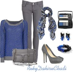 """""""Blue and grey"""" by dahiruchadi ❤ liked on Polyvore"""