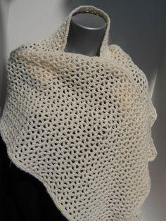Crocheted Wrap Scarf in Sparkly Cream Shawl by crochetedbycharlene, $36.00