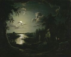 Aert van der Neer (Dutch, Landscape with a mill in the moonlight, second half of the century. Oil on canvas, 64 x 77 cm. Night Landscape, Art Painting, Landscape Paintings, Art Photography, Fine Art, Painting, Fantasy Landscape, Moonlight Painting, Landscape Art