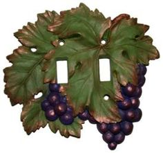 Vicki Lane Light Switch Decor Covers -Grape Cluster, double switch Purple or Burgundy