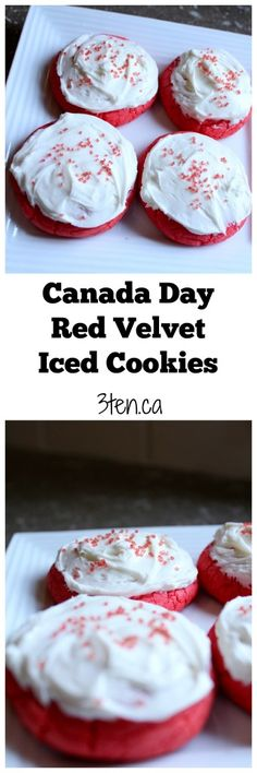 Canada Day red velvet iced cookies - the perfect treat to celebrate July These cookies are soft and chewy and the icing is well, the icing on top. Vanilla Cake Mixes, Vanilla Icing, Bbq Deserts, Canada Day Party, Canadian Food, Canadian Recipes, Canada Holiday, Kid Desserts, Iced Cookies
