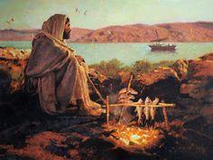 Breakfast With Jesus (John Paintings Of Christ, Jesus Christ Painting, Christian Paintings, Jesus Art, Christian Art, Bible Pictures, Jesus Pictures, Lds Art, Bible Art