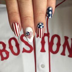 Cute American Flag Nail Art - Styles Art