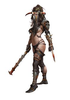 Clanners-hunter by Marko-Djurdjevic female barbarian fighter | NOT OUR ART - Please click artwork for source | WRITING INSPIRATION for Dungeons and Dragons DND Pathfinder PFRPG Warhammer 40k Star Wars Shadowrun Call of Cthulhu and other d20 roleplaying fantasy science fiction scifi horror location equipment monster character game design | Create your own RPG Books w/ www.rpgbard.com