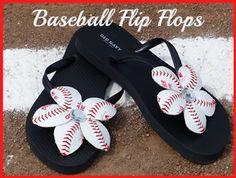 Baseball Flip Flop Flowers http://kidpep.com/blog/diy-baseball-flip-flops-how-to-make-baseball-flip-flop-flowers/