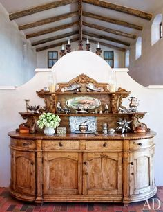 Jane Fonda's New Mexico kitchen features a 19th-century Peruvian carved-walnut buffet.