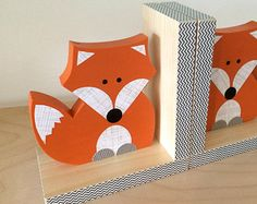 Fox Bookends, Woodland Nursery, Woodland Kids Decor, Fox Nursery, Forest Themed Nursery, eco friendly