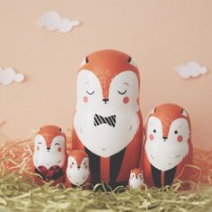Fox nesting dolls Doll Crafts, Diy Doll, Filofax, Diy Crafts To Do, Doll Painting, Matryoshka Doll, Wooden Dolls, Dollhouse Dolls, Craft Activities For Kids