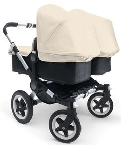 The Bugaboo Donkey Twin in Black with Off White, available at Baby Bunting.