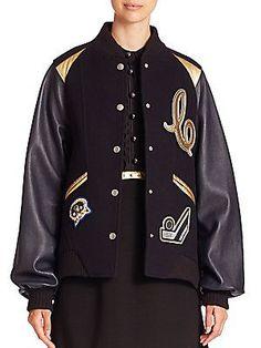 COACH 1941 Baseball Collar Wool-Blend Jacket - Navy - Size