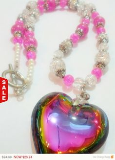Sale  Heart Beaded Necklace Heart Charm by AngryKittyOnline