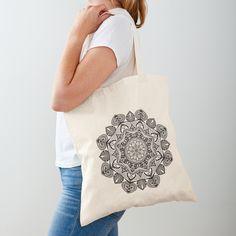 Black Mandala Pattern - Just Let Go Tote Bag Large Bags, Small Bags, Poplin Fabric, Cotton Fabric, Cotton Tote Bags, Reusable Tote Bags, Watercolor Mandala, Mandala Pattern, Gold Cross