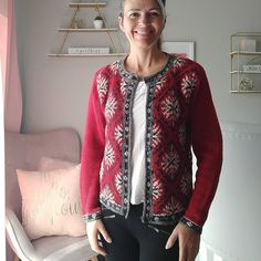 Red Cardigan Sweater, Snowflake Designs, Snowflakes, Snug, Vintage Shirts, Clothing Items, 1990s, Printed Shirts, Sweaters
