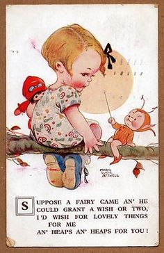"""Artist: Signed Mabel Lucie Attwell Description: This original vintage postcard pictures a young girl holding a doll and sitting on a tree limb with a Boo Boo Fairy. The caption reads """"Suppose a fairy . Vintage Pictures, Vintage Images, Cute Pictures, Vintage 70s, Vintage Cards, Vintage Postcards, Children's Book Illustration, Drawing For Kids, Vintage Children"""