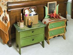 Fun furniture arrangement: Relocate a pair of antique nightstands to the foot of the bed to take the place of a single long bench. To see more of this room, turn to page 146 of our September 2015 issue or learn more about the products in our Craft Fair online: www.countrysampler.com/craftfair/flipbook.php?issue_code=C0915