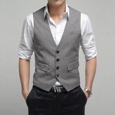 Casual Wedding Attire For Men Vestfree Shipping Korea Style Slim Male V Neck Suit Vest Men White The Ttwiuep - hate the belt, love the rest