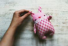 Primitive stuffed bunny rabbit pink white by HandyHappyTeddy, $28.00
