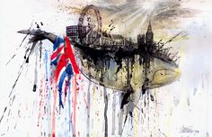 "Watercolor by Lora Zombie. My first thoughts, ""It's like England on the Starwhale in Doctor Who!"""