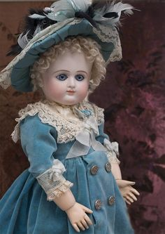 cm) Quality Antique reproduction French P. (Petit & from respectfulbear on Ruby Lane Victorian Dolls, Antique Dolls, Vintage Dolls, Pretty Dolls, Beautiful Dolls, Haunted Dolls, Isabelle, Doll Costume, Bisque Doll